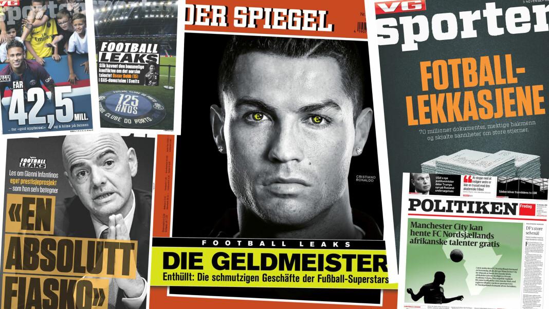 Montasje av forsider fra VGs sportsbilag, samt tyske Der Spiegel og danske Politiken, i forbindelse med avsløringene rundt Football Leaks-dokumentene.