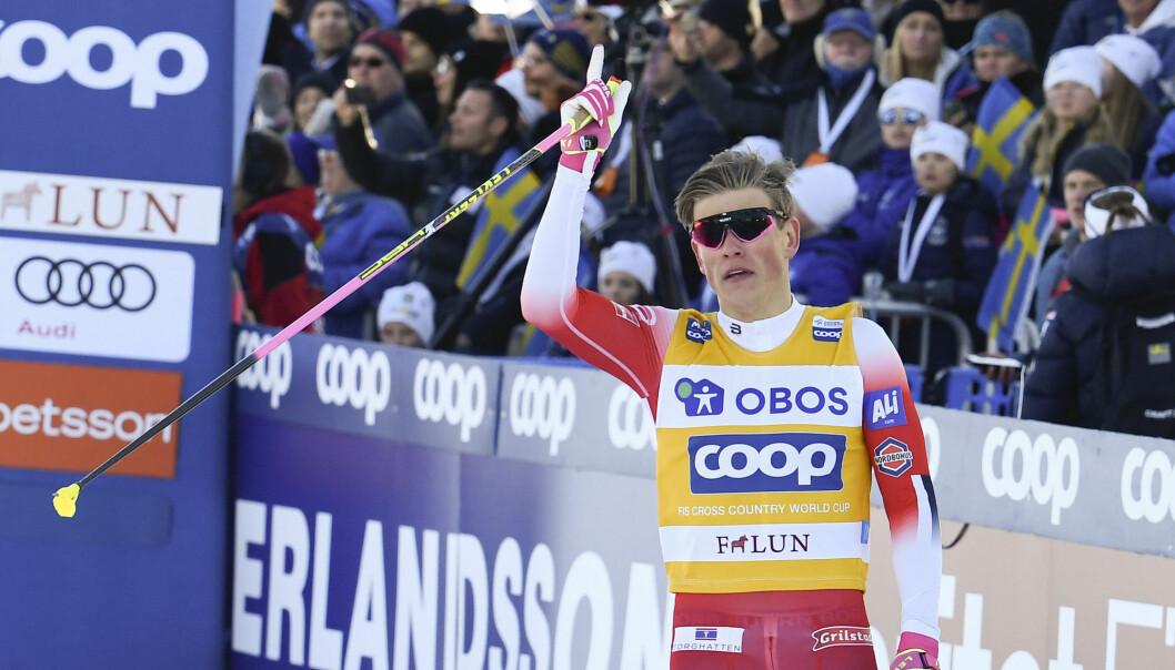 NRK må dele vintersportrettighetene med NENT. Her langrennsutøver Johannes Høsflot Klæbo. Foto: NTB scanpix