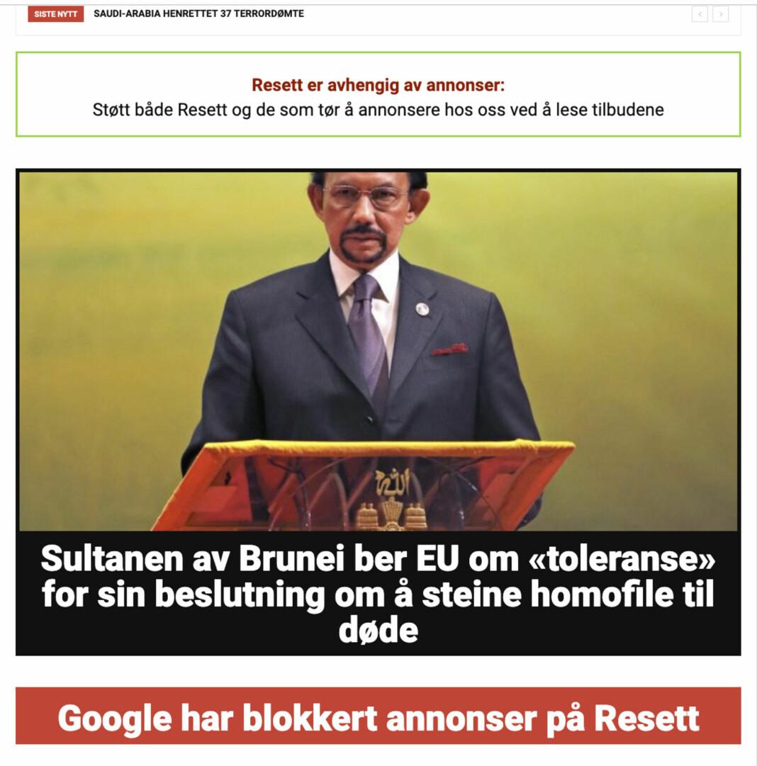 Flere store annonsører svartelister nettstedet Resett.no etter Twitter-kampanje. Skjermbilde av nettstedet tirsdag ettermiddag. Foto: Skjermbilde / NTB scanpix