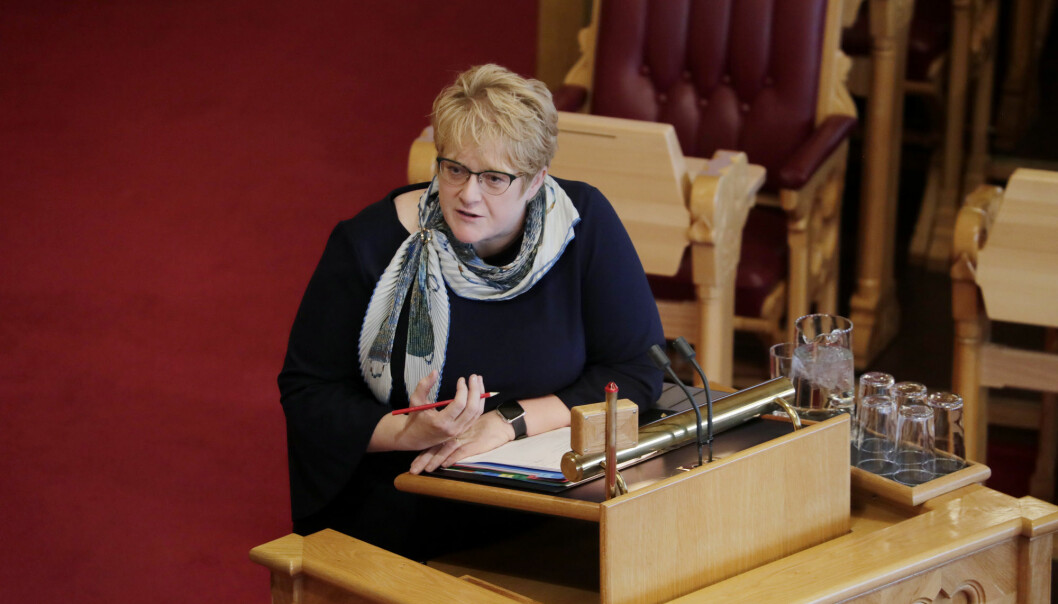 Kulturminister Trine Skei Grande, her på talerstolen i Stortinget. Foto: Cornelius Poppe / NTB scanpix