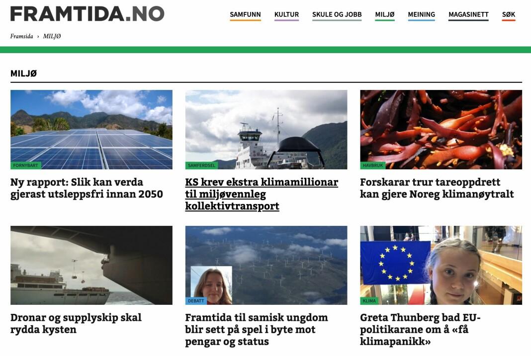 Nyheter om klima på nynorsk slår an blant leserne til Framtida.no. Til sammen har redaksjonen nå fått 450.000 kroner til sin klimasatsing fra Fritt Ord. Skjermdump Framtida.no