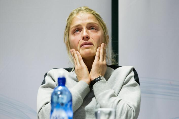 Therese Johaug ble i stor grad framstilt som et offer i norske medier, etter at hun testet positivt for doping, viser ny studie som sammenlikner svensk og norsk dekning av saken. Her fra den første pressekonferansen, oktober 2016. Foto: Håkon Mosvold Larsen / NTB scanpix