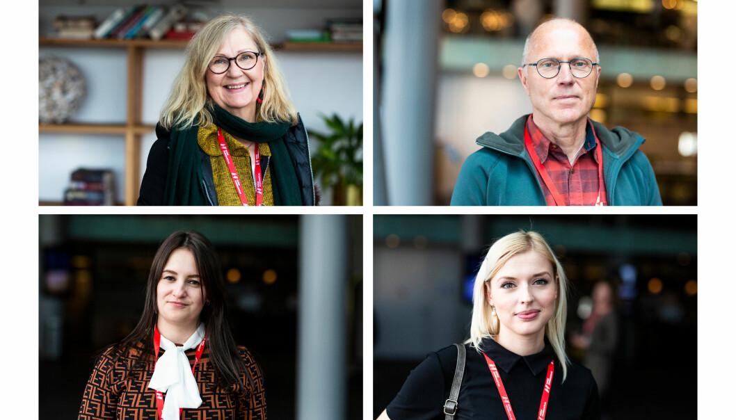 Anne Leppänen fra Finland, Bertholof Brännström fra Sverige, og Aleksandra Mikhova og Ekaterina Titla fra Russland er alle i Tromsø for å lære av kollegaer i Barents-regionen. Foto: Kristine Lindebø