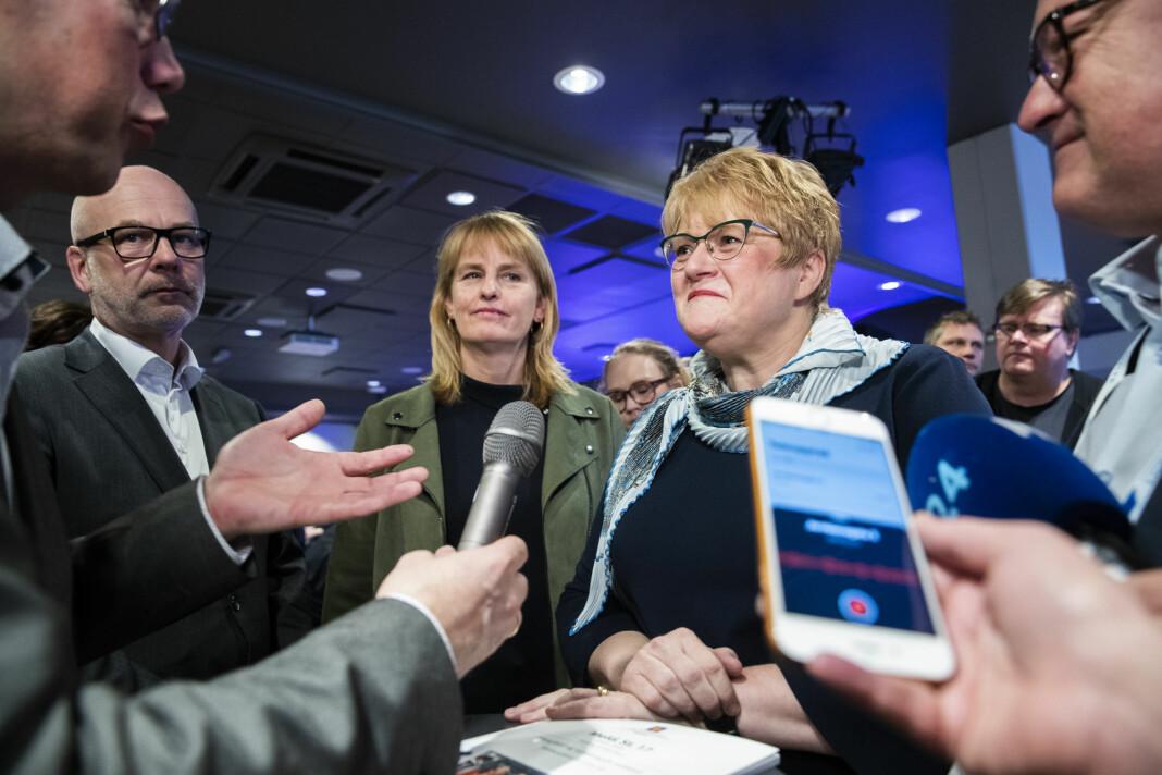Kulturminister Trine Skei Grande under framleggingen av mediestøttemeldingen i Drammen. Foto: Berit Roald / NTB scanpix