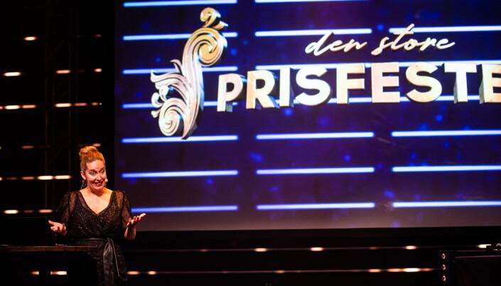 Trine Ohrberg-Rolfsrud startet «Den store prisfesten» under Nordiske mediedager. Hun jobber også som informasjons- og eventansvarlig i MBL. Foto: Eskil Wie Furunes