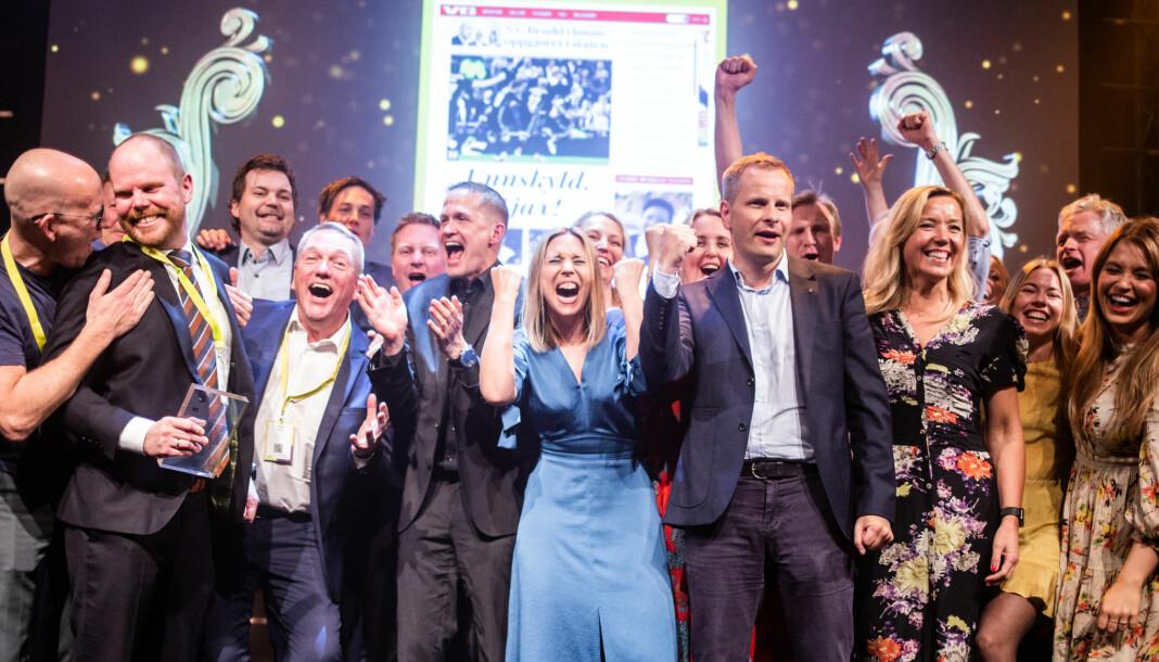 VG jubler for sin femte mediepris, årets nasjonale nyhetsnettsted, under Nordiske mediedager i Bergen onsdag. Foto: Eskil Wie Furunes