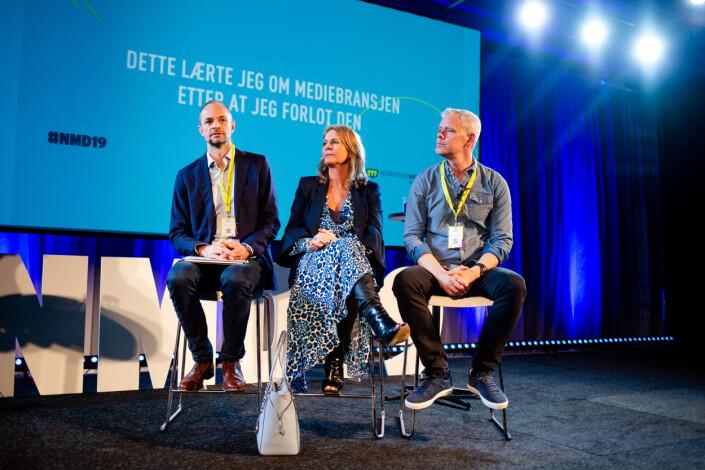 Tor Olav Mørseth, Ellen Arnstad og Per Valebrokk under Nordiske mediedager. Foto: Eskil Wie Furunes