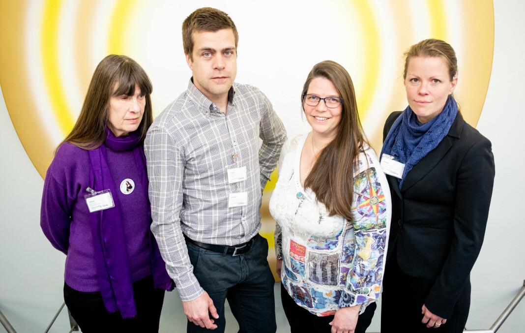 Her er Berit Vegheim (Stopp Diskrimineringen), Henrik Peersen (HLF), Kristin Kjær (Blindeforbundet) og Marte Oppedal Vale (HLF) etter stortingshøringene om mediemeldingene. Foto: Eskil Wie Furunes