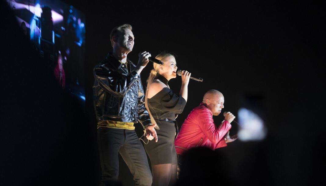 Tom Hugo Hermansen, Alexandra Rotan og Fred René Buljo i gruppen KEiiNO opptrer på Eurovision Village tidligere denne uken. Foto: Terje Bendiksby / NTB scanpix