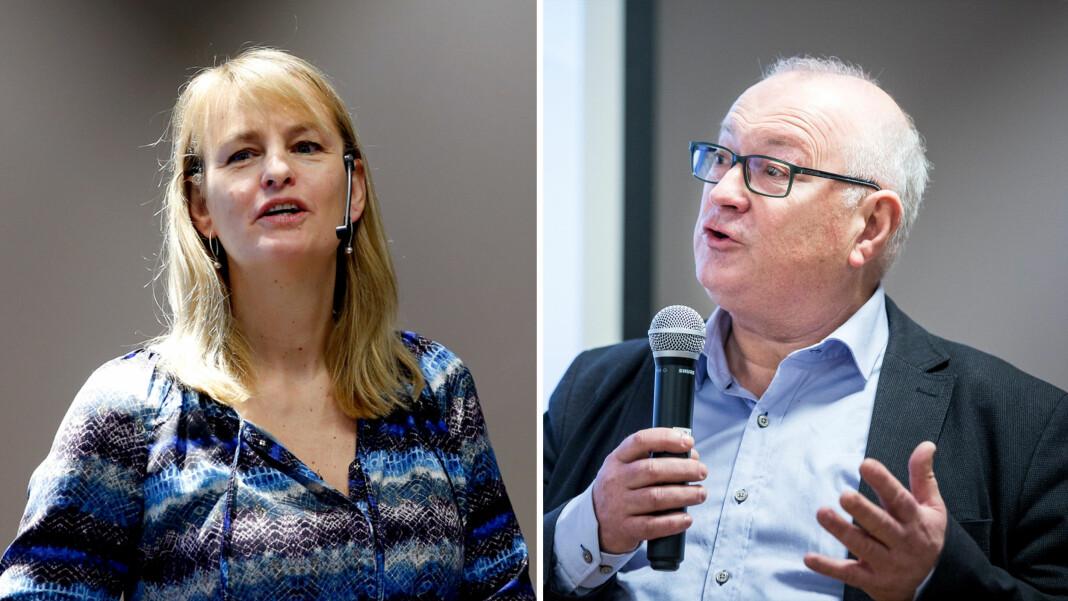Randi Øgrey fra MBL og Rune Hetland fra LLA ber Stortinget om å avvente behandlingen av deler av endringen i postloven. Her er de to fra helt andre anledninger. Foto: Vidar Ruud og Erlend Daae / NTB Scanpix