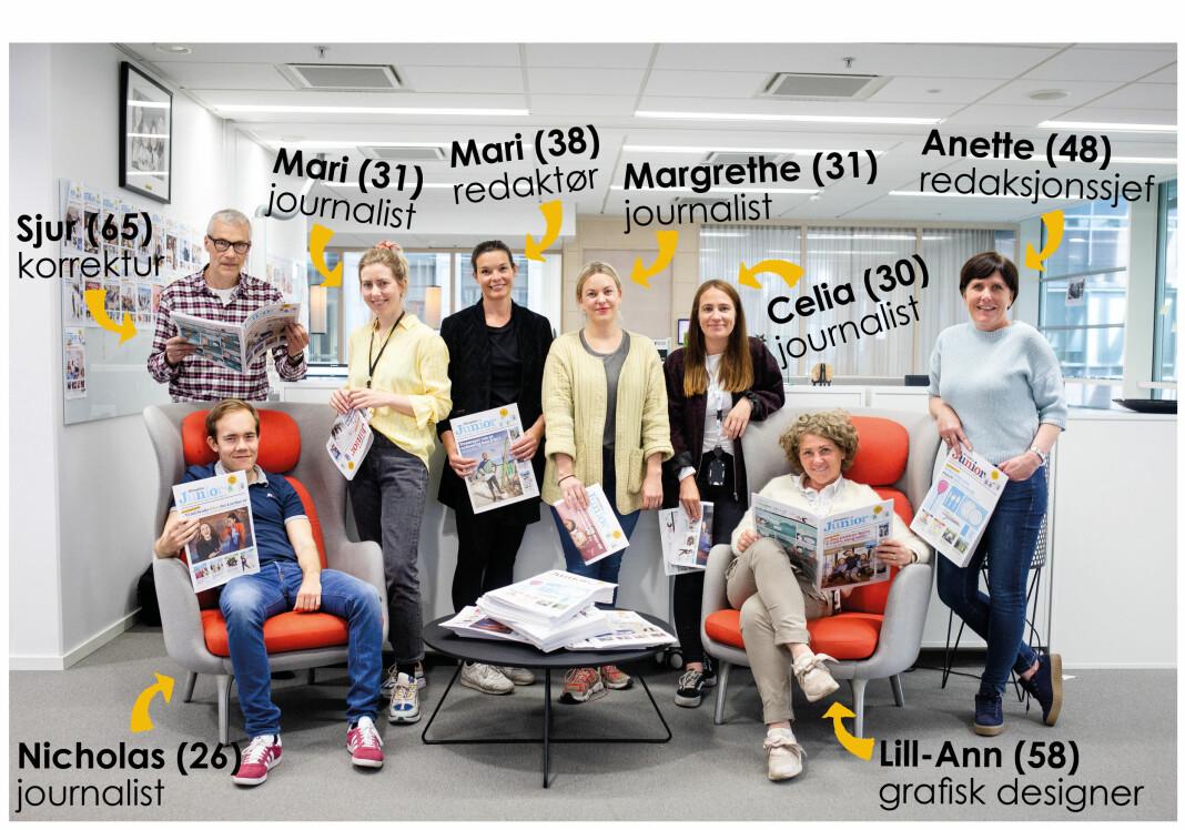 Deler av redaksjonen i Aftenposten Junior. Deres eget grep er etterlignet med tillatelse. Foto: Eskil Wie Furunes