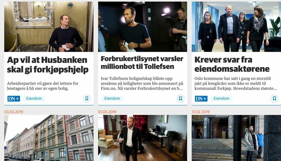 Dagens Næringsliv har over ei tid laget flere artikler om Fredensborg AS og eier Ivar Tollefsen. Foto: Skjermdump / DN.no