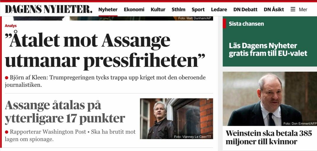 Svenske Dagens Nyheter operer med tre forskjellige betalingsmurer. Skjermdump DN.se