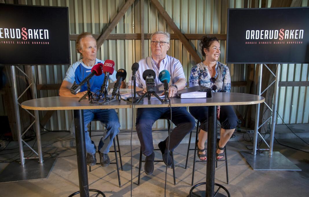 Pressekonferanse med Tore Sandberg, Per og Veronica Orderud på låven på Orderud gård på Sørumsand sommeren 2018. Foto: Cornelius Poppe / NTB scanpix