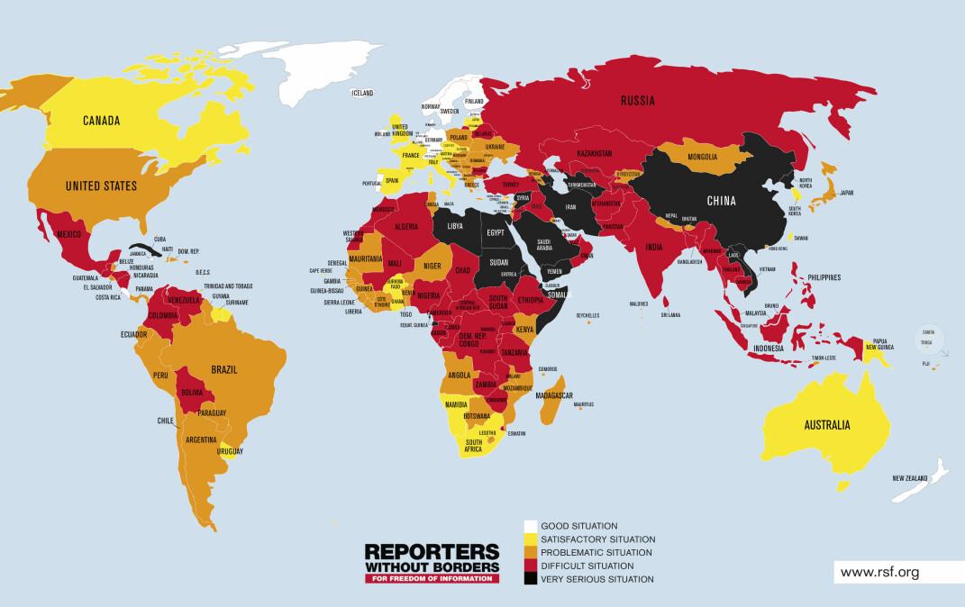 Pressefrihet i verden 2019, basert på Reportere uten grensers pressefrihetsindeks. Kilde: Reportere uten grenser, rsf.org