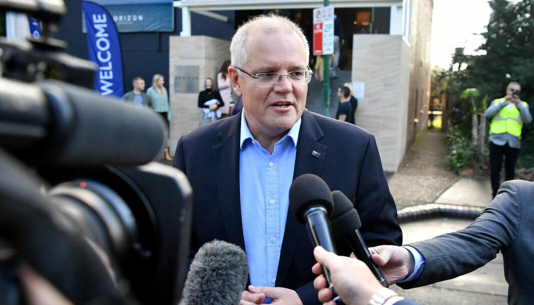 Statsminister Scott Morrison har forsøkt å distansere seg fra politiaksjonene og sier at hendelsene er en politisak. Foto: Reuters / NTB scanpix