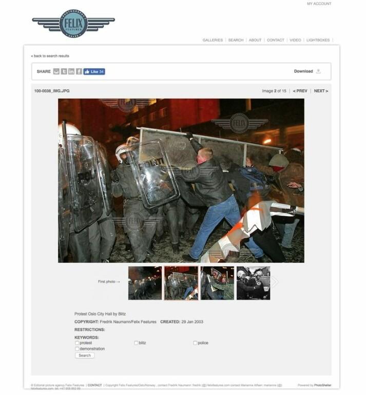 Skjermdump fra Felix Features' nettside.