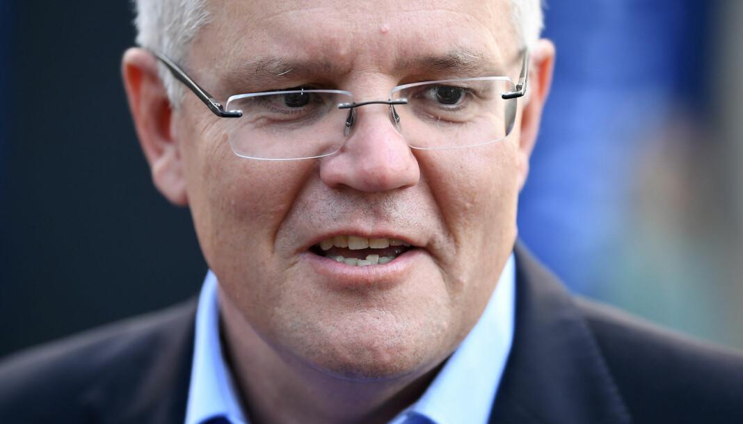 Australias statsminister Scott Morrison sier han ikke har vært innblandet i en politirazzia mot landets nasjonale kringkaster. Foto: Reuters/ NTB scanpix.