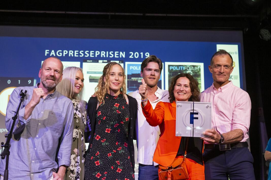 Politiforum-redaksjonen hanket inn priser under Fagpresseprisene 2019, inkludert den gjeveste prisen – Fagpresseprisen. Foto: Kristine Lindebø