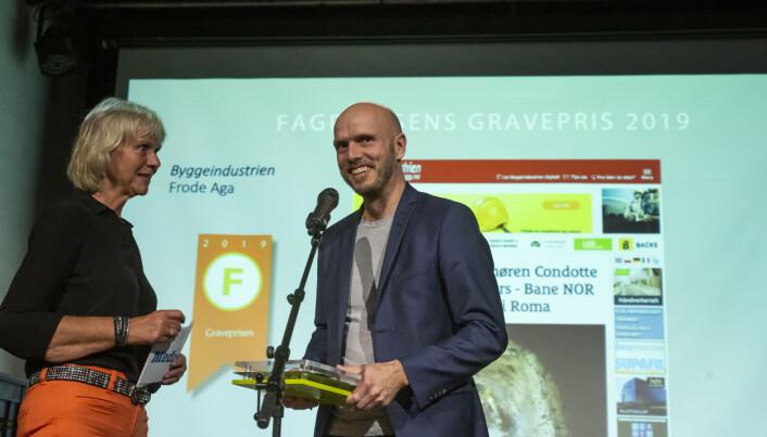Fagpressens gravepris 2019 går til journalist Frode Aga i Byggeindustrien/bygg.no. Foto: Kristine Lindebø