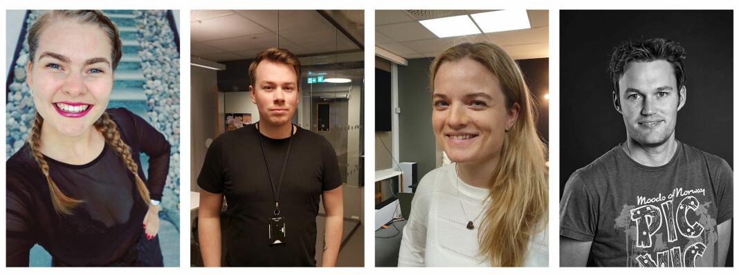 Nina Lorvik, Bjørn Vegar Digre, Trine Solberg og Sigurd Øfsti er ansatt i Nettavisens Pluss-redaksjon. Foto: Privat