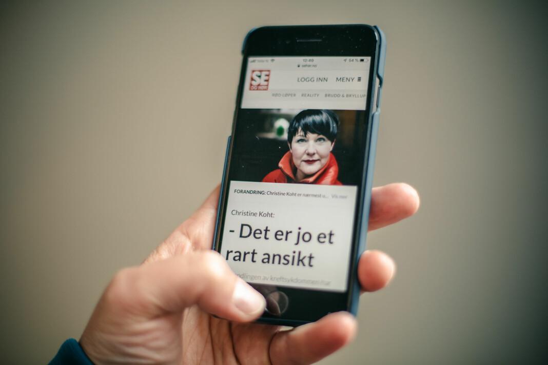 Bilde av saken som den står i dag. Da den ble publisert fredag inneholdt den en skjermdump av Aftenpostens bilde av Christine Koht. Foto: Marte Vike Arnesen