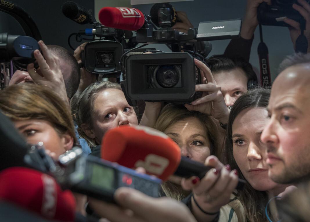 Et nytt Journalisten-prosjektet skal forsøke å forklare hvorfor mediene tar de valgene som de gjør. Bildet er fra rettssaken mot Eirik Jensen. Foto: Ole Berg-Rusten / NTB scanpix