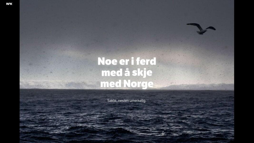 «Jakten på klimaendringene» er en av de mest leste sakene på nrk.no noensinne. I Danmark skal ikke DR lage tekstbasert journalistikk som går i dybden. Nå er det samme foreslått i Sverige. Skjermdump fra NRK