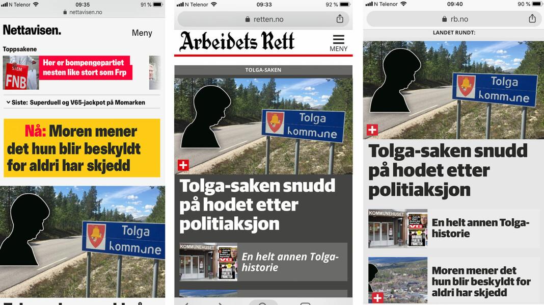 Nettavisen, Arbeidsrett og Romerikes Blad er tre av Amedia-avisene som har deltatt i Tolga-prosjektet.