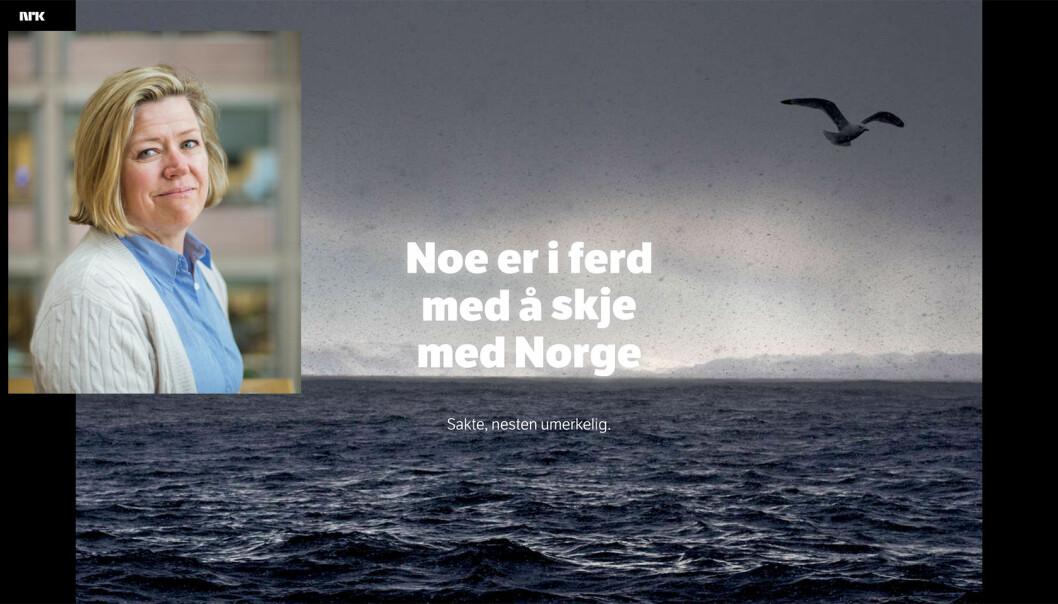 Nyhetsredaktør Tone Tveøy Strøm-Gundersen i Aftenposten. Foto: Marte Vike Arnesen og skjermdump fra NRK