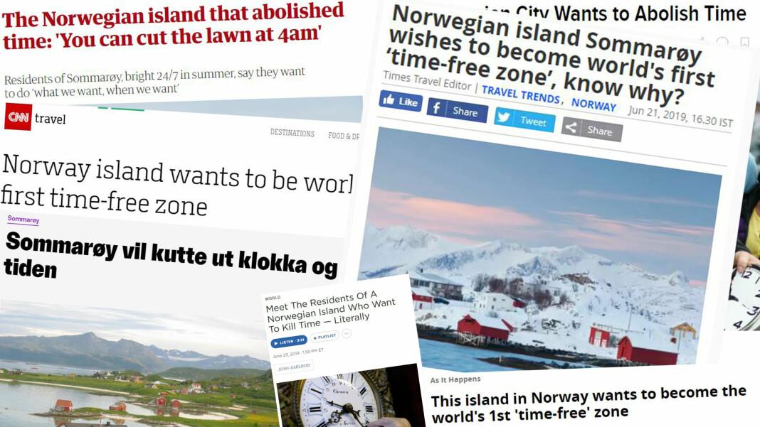 Vellykket kampanje eller rent lureri? Over 1400 medier over hele verden har skrevet om Sommarøy som ville fjerne tiden. Fotomontasje.