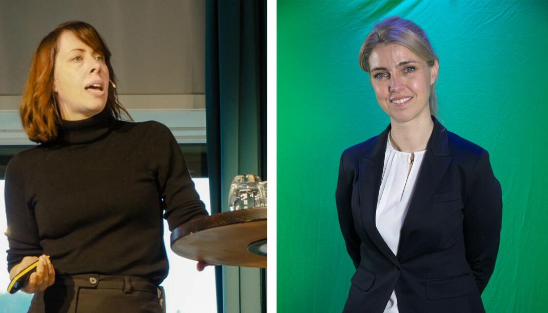 Morgenbladets Anna B. Jenssen og Dagbladets Alexandra Beverfjord kan stikke av med ti prosent av pressestøttepotten. Foto: Roger Aarli-Grøndalen og Scanpix