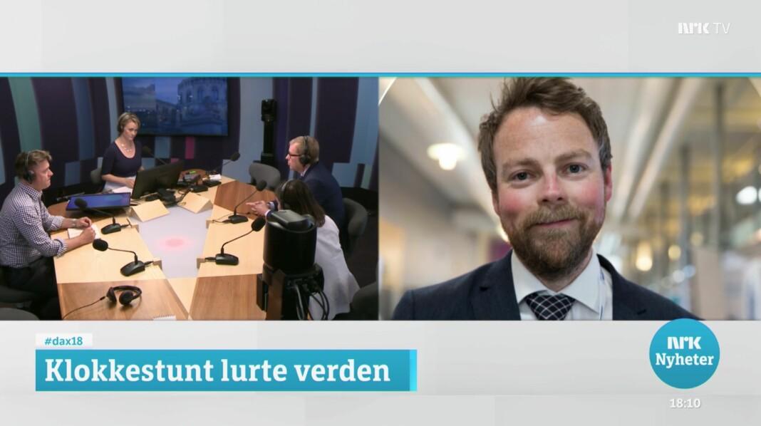 «Gravalvoret henger tungt over Dagsnytt 18-studioet», skriver iTromsø-redaktør Stig Jakobsen. Skjermdump fra NRK TV