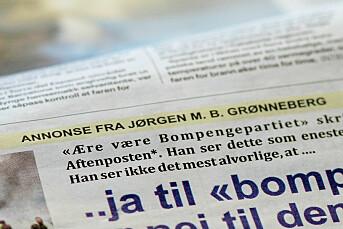 Jørgen fikk beskjed av Aftenposten om å kutte i innlegget sitt. Da rykket han det heller inn som annonse