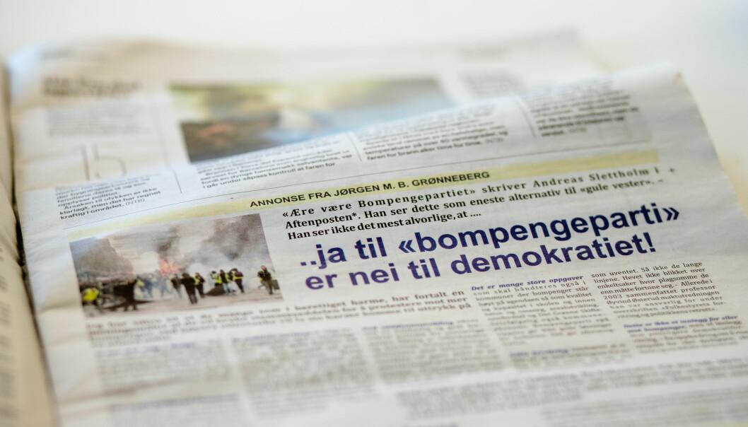 Jørgen Grønneberg valgte en halvsides annonse i Aftenposten for å få publisert hele sitt leserinnlegg. Foto: Eskil Wie Furunes