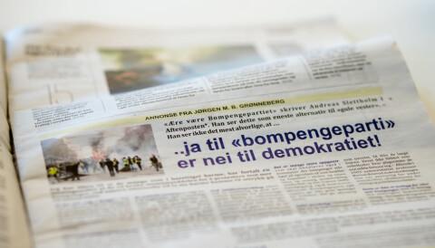 354fbdcd Jørgen Grønneberg valgte en halvsides annonse i Aftenposten for å få  publisert hele sitt leserinnlegg.