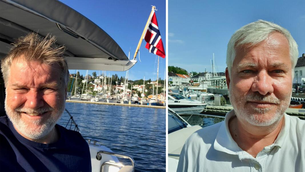 Jørn Espen Kaalstad (til venstre) og Ole Henrik Nissen-Lie ble plutselig uten motorkraft midt i sjøen. Foto: Privat
