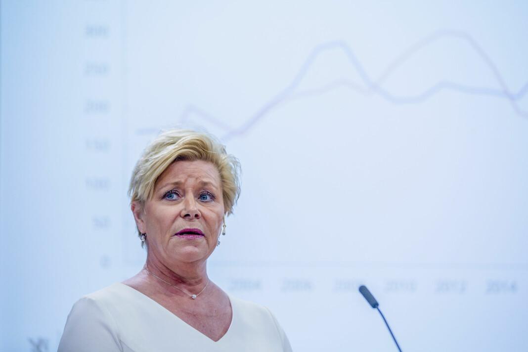 Finansminister Siv Jensen beskriver at momsforskriften «sikrer fleksibilitet». Foto: Stian Lysberg Solum / NTB scanpix