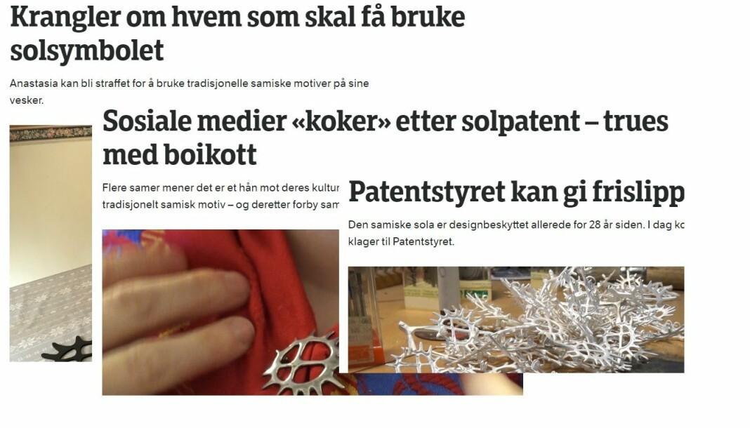 Disse nettartiklene har blitt fjernet fra nrk.no, én måned etter publisering. Foto: Faksimile/montasje