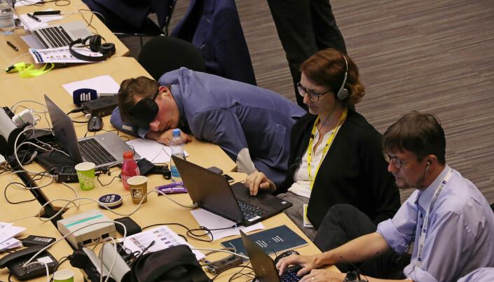 Journalister under EUs maratonmøt denne uken. Foto: Yves Hermn, Reuters