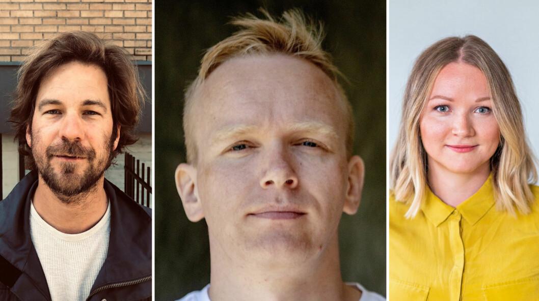 Eiliv Frich Flydal (37) fra Dagbladet, Markus Tobiassen (30) fra Dagens Næringsliv og Runa Victoria Engen (33) fra NRK. Foto: Handout fra VG