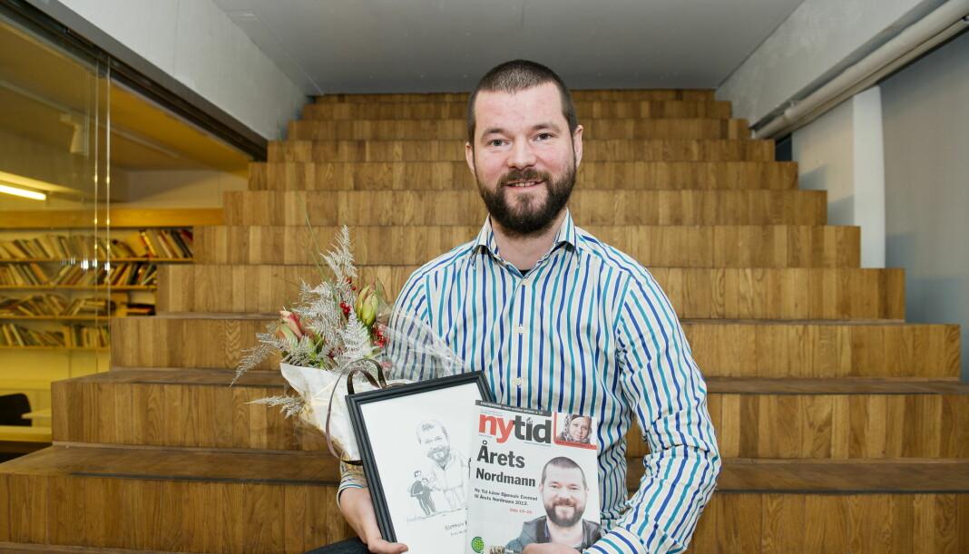 Bjønnulv Evenrud er leder for Folk er Folk. Bildet er tatt da han mottok prisen Årets Nordmann 2012 av magasinet Ny Tid. Foto: Fredrik Varfjell / NTB scanpix