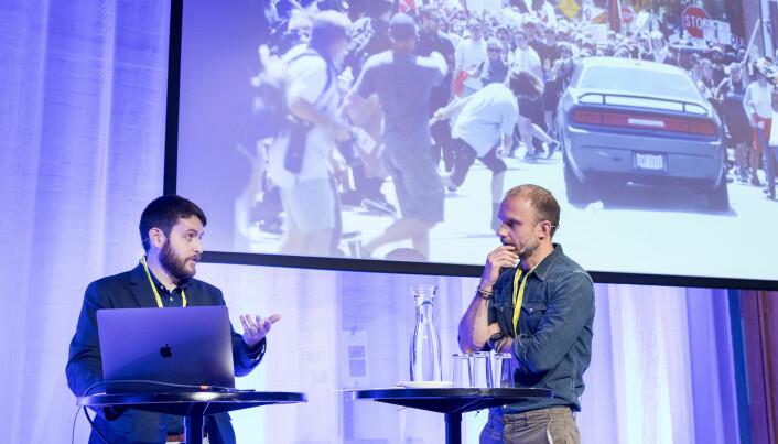 Ryan Kelly forteller sin historie til publikum og VG-fotograf Espen Rasmussen under Nordiske mediedager i Bergen. Foto: Eskil Wie Furunes