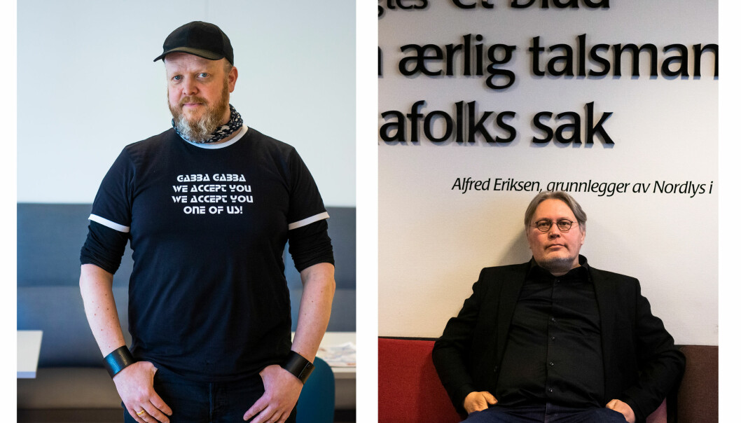Kommentator i iTromsø, Egon Holstad, og politisk redaktør i Nordlys, Skjalg Fjellheim, er svært kritisk til at store Oslo-medier ikke omtaler den ferske rapporten om Nord-Norgebanen. Foto: Kristine Lindebø