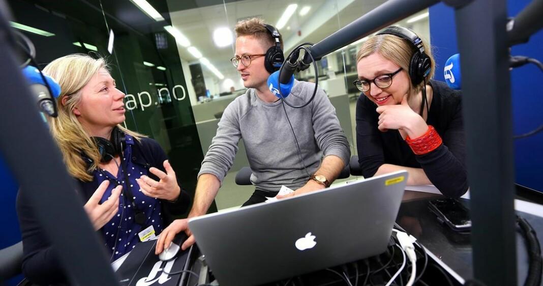 Trine Eilertsen, Lars Glomnes og Sarah Sørheim fyller Sentrum Scene dagen etter kommune- og fylkestingsvalget. Foto: Rolf Øhman / Aftenposten