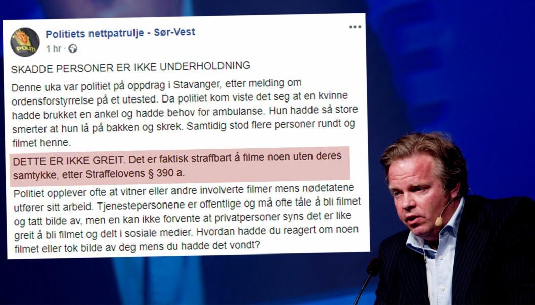 Advokat Jon Wessel-Aas er klar på at formuleringen i rødt er feil. I ettertid har formulering blitt endret. Foto: Skjermdump og NTB scanpix