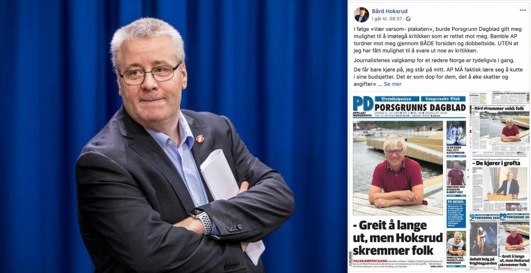 Leder Fredrik Nordahl i Norsk Journalistlag i Telemark kritiserer Bård Hoksrud (Frp). Foto: NTB scanpix / skjermdump fra Facebook