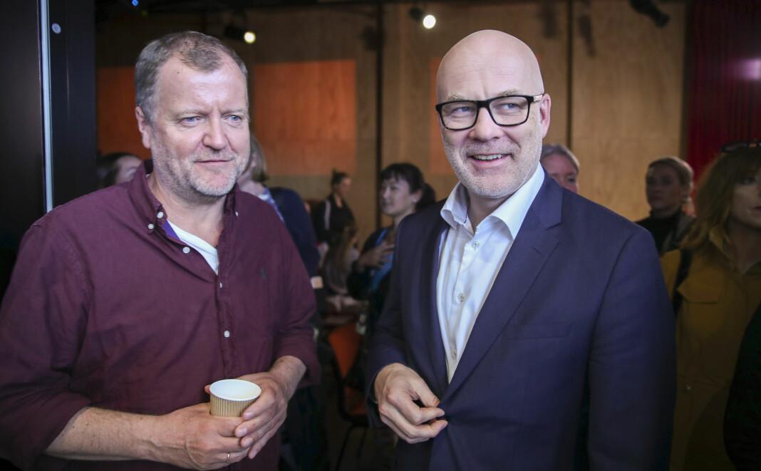 Underholdningsredaktør Charlo Halvorsen og kringkastingssjef Thor Gjermund Eriksen på NRKs høstslipp i juni. Siden har de begge vært gjenstand for hard kritikk etter et innslag i satireprogrammet Satiriks. Foto: Vidar Ruud / NTB scanpix