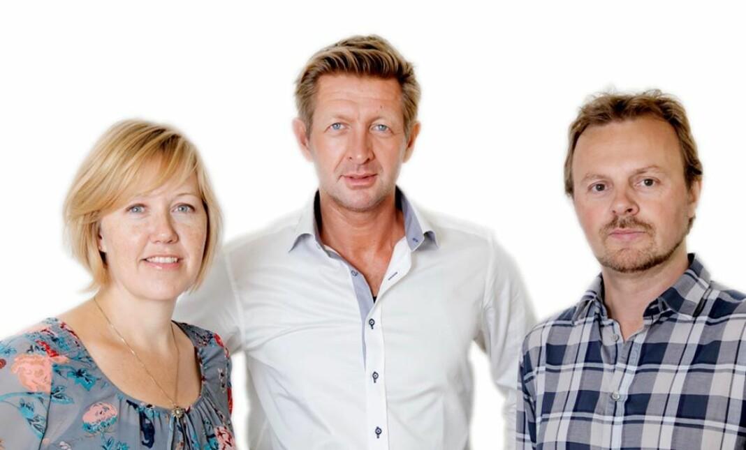 Hilde Nyman, Erlend Fossbakken og Knut Kristian Hauger (midten) er blitt enige om å skille lag. Foto: Kampanje