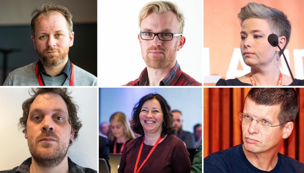Klubblederne fra oppe til venstre: Tor-Erling Tømt Ruud (VG), Erlend Skarsaune (Stavanger Aftenblad), Kjersti Fikse (Adressa), Anders Holth Johansen (Dagbladet), Sonja Nordanger (Aller Media) og Gunnar Kagge (Aftenposten).